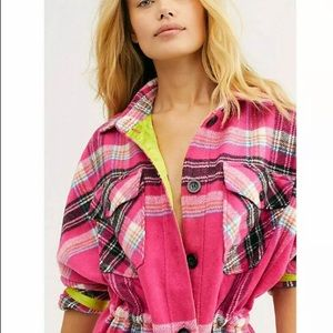 Free People Pink Flannel Plaid Button Down